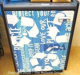 Rolling recycling bin cabinet