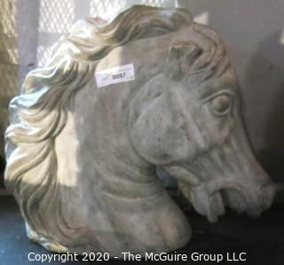 """Cement Mustang Horse Head.  Measures approximately 18"""" tall and 20"""" long."""