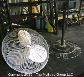 Industrial Electric Fan on Stand; working condition