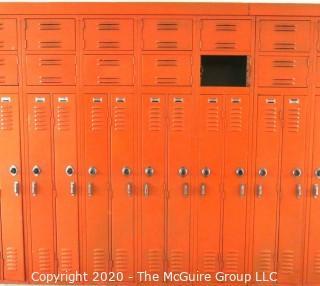 """Set of (20) 6"""" X 48"""" Metal Combination Hall Lockers.  One Missing Door."""