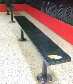 (2) Wooden Locker Benches with Metal Pole Bases (Buyer to Disassemble from floor)