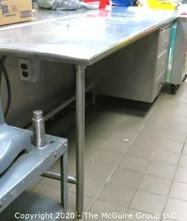 """30 x 80 x 36""""t Stainless Steel Prep Table w/ built in shelving on one end and electrical outlet on the other"""