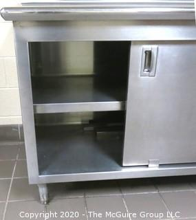 """30 x 96 x 36""""t Stainless Steel prep table with sliding door storage underneath"""