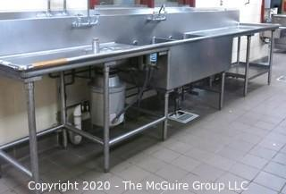 """30 x 168 x 37""""t Stainless Steel Wash Station with Salvajor Waste Disposal System"""