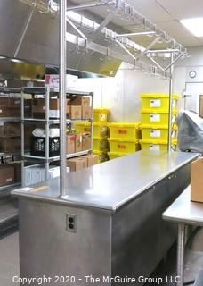 """30 x 96 x 36""""t Stainless Steel Prep Table with Overhead Pot Rack"""
