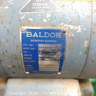 230V; 3 PHASE; 2HP BALDOR GRINDER-BUFFER; WITH FLOOR STAND