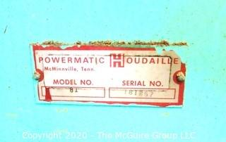 230V 2HP Powermatic Commercial Grade Bandsaw; Model 81; S/N 181257; Made in Tennessee; condition unknown.