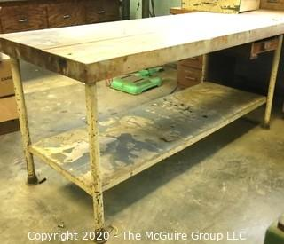 """Wooden Work Bench with Metal Base.  30 x 72 x 34""""t"""