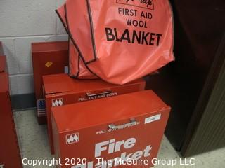 (4) Laboratory Fire Blankets; (3) with wall mounting metal cabinets