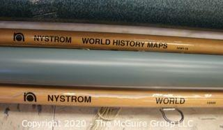 Collection of four (4) Nystrom pull down map sheets
