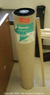 """INDUST: NOS roll of drafting table overlay material by BORCO, Green/Ivory sided; 37.5"""" x 10 yds"""