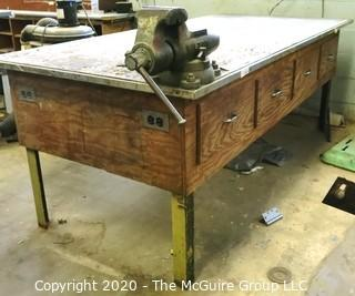 """Vintage Industrial Wooden Work Table With Underneath Storage Drawers; On Metal Base.45"""" x 92"""" x 36""""t (does not include vise)"""