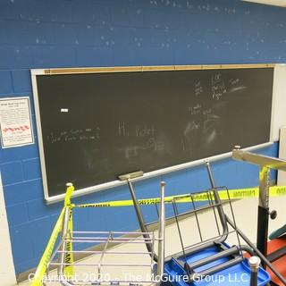 4' X 16' BLACK BOARD IN METAL FRAME (YOU MUST REMOVE FROM WALL)