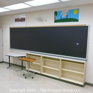 4' X 16' BLACK BOARD IN METAL FRAME (BUYER TO REMOVE FROM WALL)