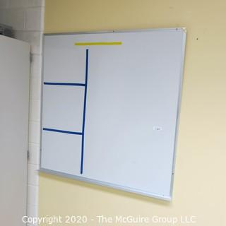 4' X 4' WHITE BOARD IN METAL FRAME (BUYER TO REMOVE FROM WALL)