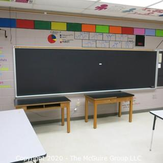 4' X 14' BLACK BOARD IN METAL FRAME (BUYER TO REMOVE FROM WALL)