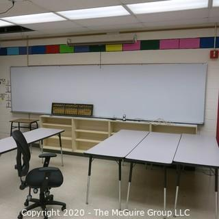 4' X 14' WHITE BOARD IN METAL FRAME (BUYER TO REMOVE FROM WALL)