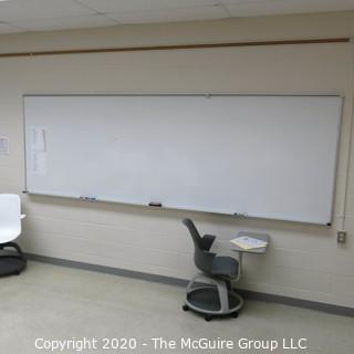 4' X 12' WHITE BOARD IN METAL FRAME (BUYER TO REMOVE FROM WALL)