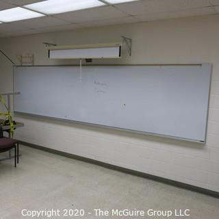 4' X 16' WHITE BOARD IN METAL FRAME (BUYER TO REMOVE FROM WALL)