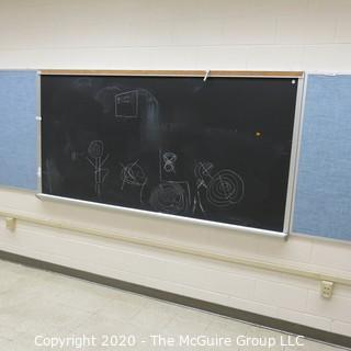4' X 8' BLACK BOARD IN METAL FRAME (BUYER TO REMOVE FROM WALL)
