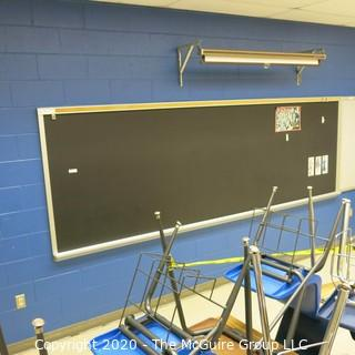 4' X 12' BLACK BOARD IN METAL FRAME (BUYER TO REMOVE FROM WALL)