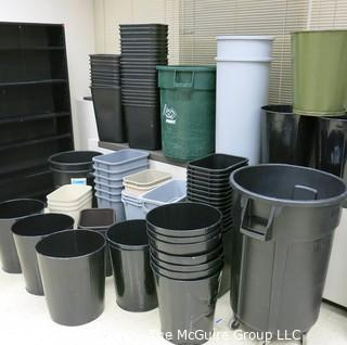 LARGE ASSORTMENT OF BLACK WASTE CONTAINERS VARIOUS SIZES (CLEAN)