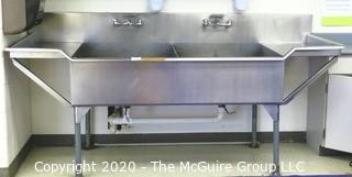 "96""W Stainless Steel Double Sink"