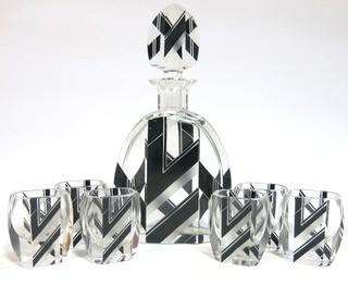 "1930's Karl Palda Bohemian Czech Art Deco Cut Glass Liquor Decanter & 6 Glasses. <br> <br> Many of the Karl Palda Bohemian Art Deco cut glass pieces in this auction were featured in the book ""Collectible Bohemian Glass (1915 – 1945) Volume II"" by Robert & Deborah Truitt."