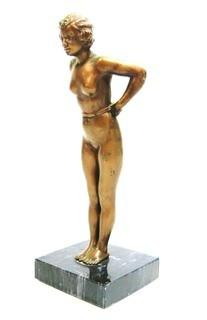 "Vintage Art Deco Female Bronze Statue on Marble Base. Measures approximately 9"" tall."