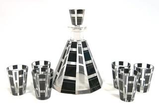 "Karl Palda Bohemian Czech Art Deco Cut Glass Liquor Decanter with Black Decoration and 6 Glasses  <br> <br> Many of the Karl Palda Bohemian Art Deco cut glass pieces in this auction were featured in the book ""Collectible Bohemian Glass (1915 – 1945) Volume II"" by Robert & Deborah Truitt."