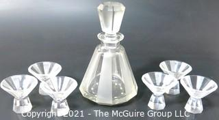 "Palda Bohemian Czech Art Deco Clear Cut Glass Liquor Decanter & 6 Glasses. <br> <br> Many of the Karl Palda Bohemian Art Deco cut glass pieces in this auction were featured in the book ""Collectible Bohemian Glass (1915 – 1945) Volume II"" by Robert & Deborah Truitt."