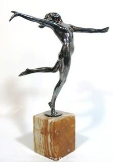 "Vintage Art Deco Nude Dancer on Marble Base Signed by Artist.  Measures approximately 15"" tall."