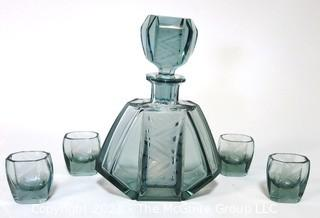 "Palda Bohemian Czech Art Deco Clear Frosted Cut Glass Liquor Decanter & 6 Glasses <br> <br> Many of the Karl Palda Bohemian Art Deco cut glass pieces in this auction were featured in the book ""Collectible Bohemian Glass (1915 – 1945) Volume II"" by Robert & Deborah Truitt."