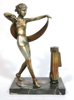 "Art Deco Table Top Statue of Dancer on Marble Base with Cigarette Lighter, missing flint.  Measures approximately 10"" tall."