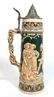 "Antique German Porcelain Stein with Pewter lid. Measures approximately 15"" tall."