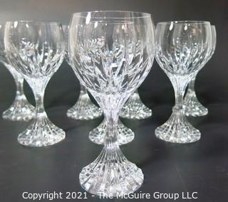 "Set of (8) Baccarat Cut Crystal Water Goblets with Deep Bevel Cuts in Sought After Massena Pattern.   They measure approximately 7"" tall. {Note: Description adjusted 2/1/21 @3:16pm ET}"