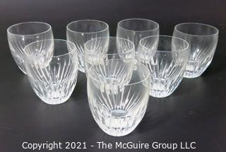 "Set of 8 Baccarat Cut Crystal Tumblers with Deep Bevel Cuts in Sought After Massena Pattern.   They measure approximately 3 1/2"" tall."