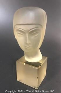 "Art Deco Sculpted Crystal Bust of Female; 9 1/2""T"