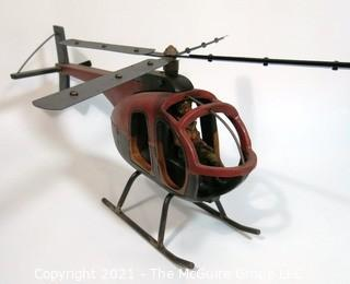 Large Folk Art Hand Crafted Helicopter