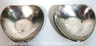 Pair of Sterling Silver Heart Shaped Pin Dishes or Trinket Trays; 161g