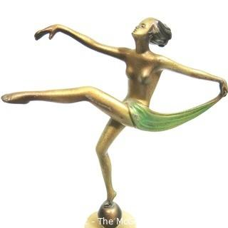 "Vintage Art Deco Statue of Dancer in Arabesque on Marble Base.  Measures approximately 8"" tall."