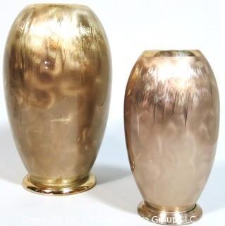 Pair of Art Deco German WMF Ikora Bauhaus Metal Vases, E P Brass.