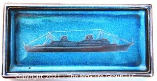 "3 x 6"" Ceramic Tray with Blue Enamel Overlay Specially Designed by Gustavsberg Argenta and made in Sweden for the Swedish American Line"