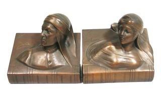Art Deco Dante & Beatrice Bronze Bookends.