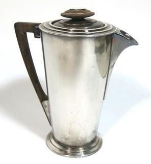 Vintage Art Deco Cocktail Shaker Designed by Visakay for the Luxury Ocean Liner Ile De France. 36 Oz. Silver Plated and Stamped International Silver Co. With Wood Accents.