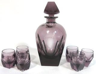 Plum Bohemian Czech Art Deco Cut Glass Liquor Decanter with 6 Geometric Cut Glasses.