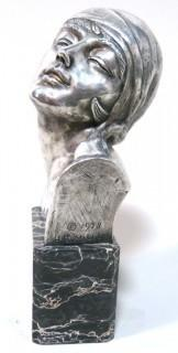 "Heavy Cast Bronze with Silver Overlay Art Deco Statue of Female Bust on Marble Base made and Signed by H. G. Miller, 1928.  Measures approximately 10"" tall."