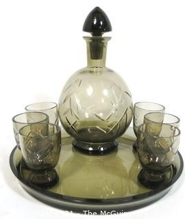 Grey Czech Art Deco Cut Glass Liquor Decanter with 6 Glasses on Round Glass Tray.