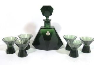 Emerald Green Bohemian Czech Art Deco Cut Glass Liquor Decanter with  6 Glasses.