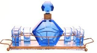 Blue Bohemian Czech Art Deco Cut Glass Liquor Decanter with 6 Glasses in Metal Mirrored Tray.